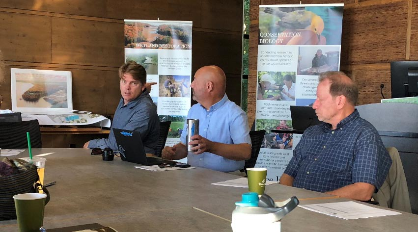 From left: Rice Rivers Center administrators Ed Crawford, deputy director; Greg Garman, director and research director; and Rob Tombes, vice provost, Life Sciences and Research.